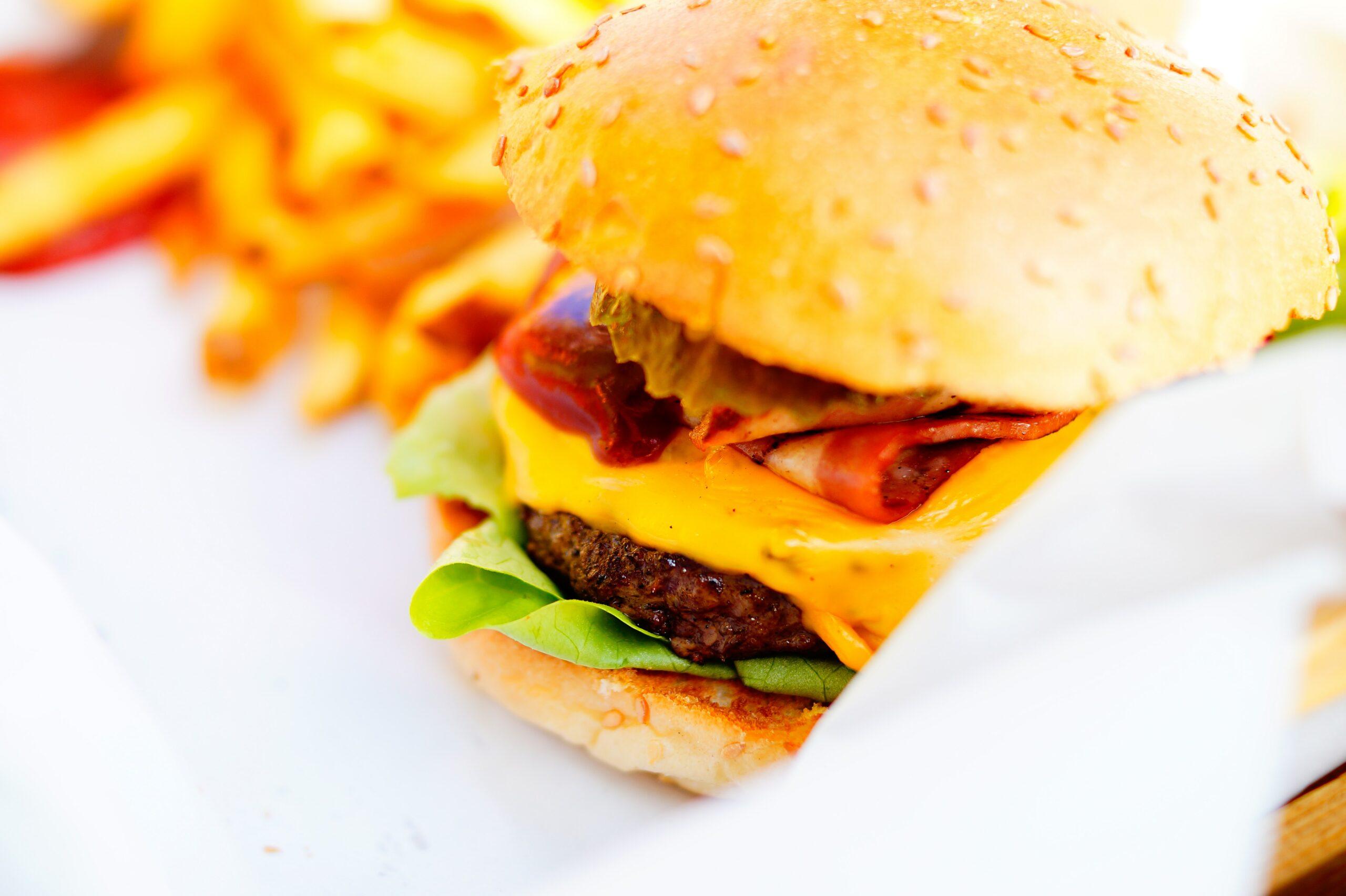 Fastfood Cheese Burger und Fritten
